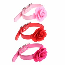 3 Colors Sweet Faux Leather Collar Pet Dog Puppy Cat Collar Choker Adjustable Rose Flower Buckle Neck Strap Pet Supplies C42(China)