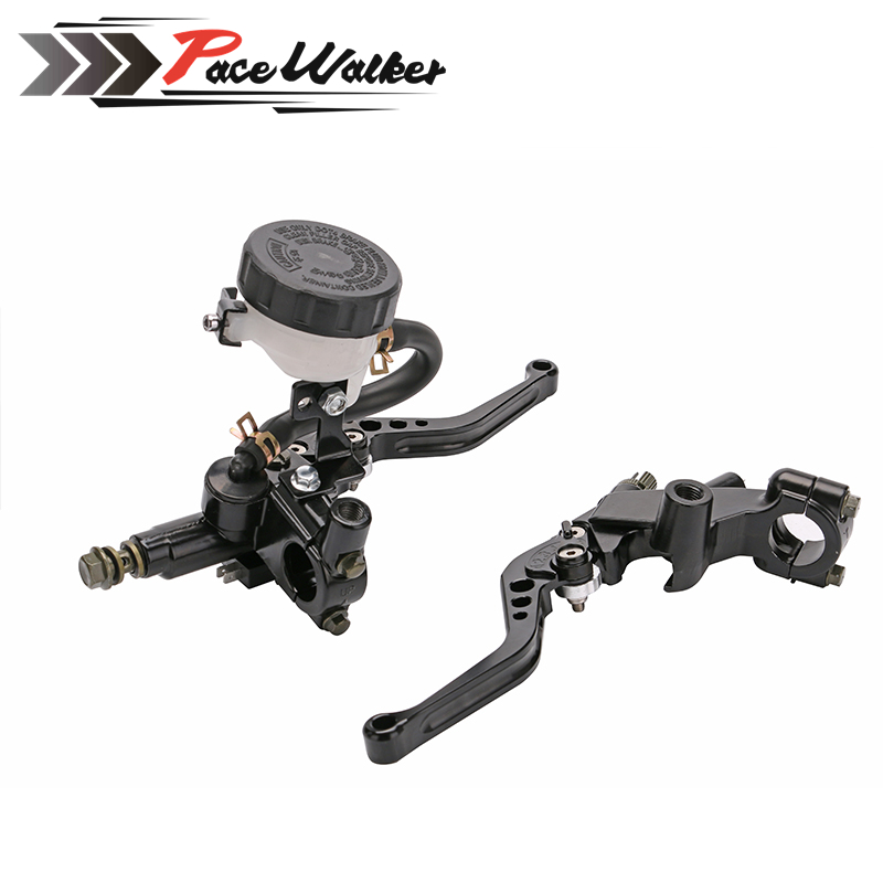 1 Pair 7/8 Universal Motorcycle Brake Levers Clutch Master Cylinder Reservoir Kit Black Silver Gold New Styling<br>