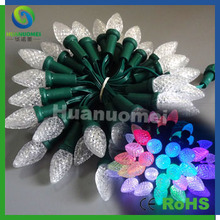 Christmas Party Wedding decorative C9 strawberry shape led string 50pcs/string waterproof RGB digital string light(China)