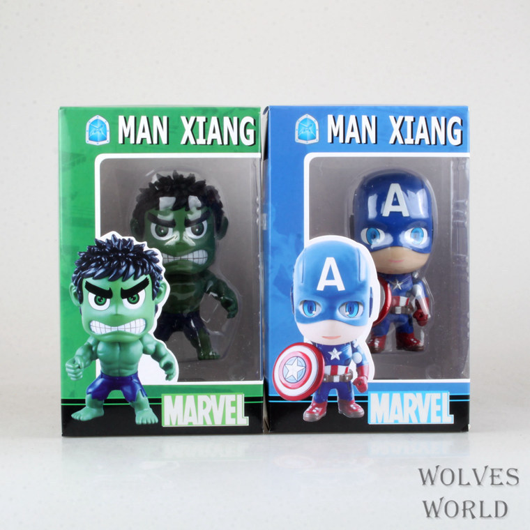 Spot Sell Q version of Captain America Avengers Hulk Q edition boxed High quality PVC Dolls Child Toys 2pcs/set Free shipping<br>