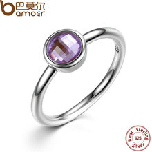BAMOER Elegant Glass 925 Sterling Silver Rings Poetic Droplet, Purple CZ Finger Women Ring Fashion Wedding Jewelry PA7185