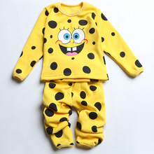 Tracksuit Children Suit Boys Girls Plus Velvet Underwear Sets SpongeBob Pattern Winter Pajamas Overall Sleepwear Clothing Set