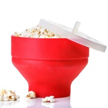 Microwaveable Popcorn Maker Folding Food Grade Silicone Pop Corn Bowl With Lid Bakingware DIY Popcorn Bucket Kitchen Accessories