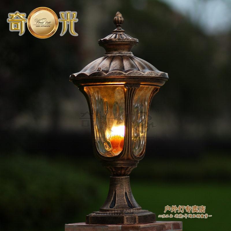 Aluminum+glass post lamp outdoor fixture light e27 european vintage outdoor lighting lamps bronze 100-240V LED bulb include<br><br>Aliexpress