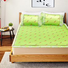 High Quality Cartoon Modern Pastoral Style Green Summer Cool Sleeping Pad Cushion Silk Mat Bed Bed Set 2 / 3PCS(China)