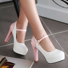 2016 new spring  women pumps high heels Women's shoe round shallow mouth buckle wedding shoes big size 42 43 platform color shoe
