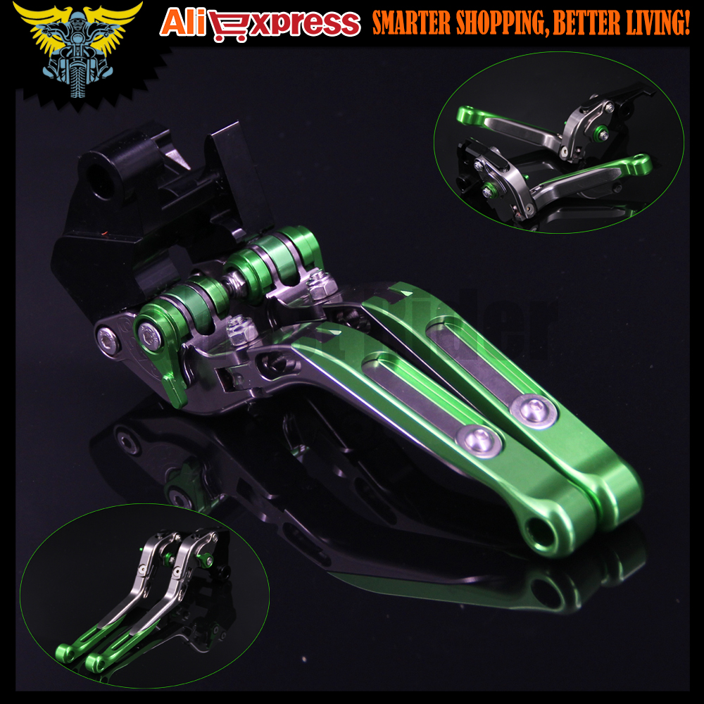 Green+Titanium 8 Colors CNC Adjustable Folding Extendable Motorcycle Brake Clutch Levers For Kawasaki ZX10R 2004 2005<br>