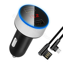 LED Quick Charge Car Charger Cable Phone USB Charger Fast Charging Cable Samsung Xiaomi Sony Android Charge Adapter Cord
