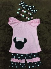mickey minnie shorts sets girls summer boutique shorts outifts baby girl clothes with headband and necklace