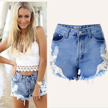 high waist lace holes tassel pockets sexy joke girls hot Shorts Jeans bohemia denim shorts