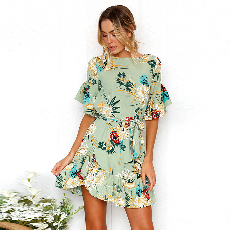 Lossky Summer Women Beach Dress 2018 Bohemian Floral Print Boho Dress O-Neck Short Sleeve Ruffle Mini Chiffon Dress With Belt 16
