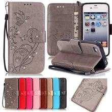 For Coque iPhone 4s Case Leather Wallet Phone Case iPhone 4 4s Flip Cover For iPhone 4 Luxury 3D Diamond Bling Leather Case Capa(China)
