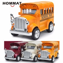 HOMMAT 1:43 Retro Vintage Classic Mini School Bus Alloy Diecast Toy Vehicle Car Model Die Cast Metal Collection Gift Pull Back(China)