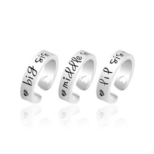 New Arrival 3pcs/lot Trendy Silver Plated Big Middle little Sister Forever Friend Alloy Open Ring For Girl Woman Jewelry Gift(China)