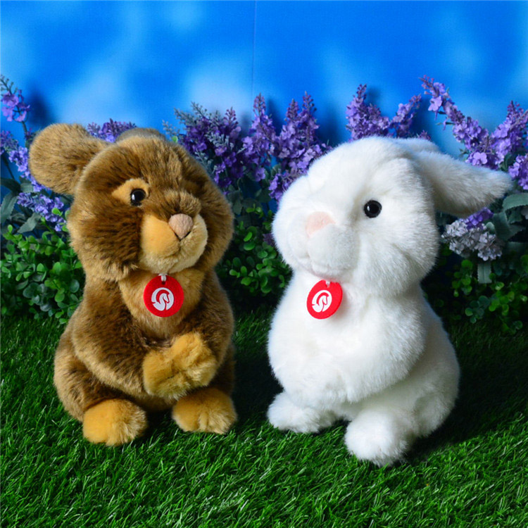 21cm Simulation Rabbits Plush Toys Kawaii White Brown Rabbit Stuffed Toys Dolls Soft Kids Toys Christmas Gifts(China)