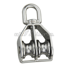 25mm 316 Swivel Stainless Steel Double Pulley Block Chain Traction Wheel for Wire Rope Cable