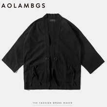 Aolamegs Mens kimono japanese clothes streetwear fashion casual kanye west kimonos jackets harajuku japan style cardigan outwear