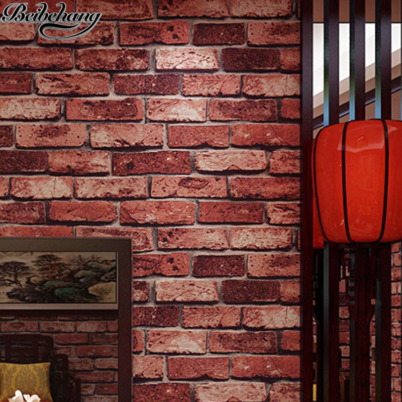 beibehang pvc Thick Red Brick Wallpaper Vintage Restaurant Hotel Living Room Background Wall Brick Wallpaper papapel de parede<br>