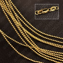 JEXXI Wholesale Newest Style 5PCS 18 Inches18K Gold Filled Beads Ball Necklace Chains Necklaces Jewelry Pendant Free Shipping(China)