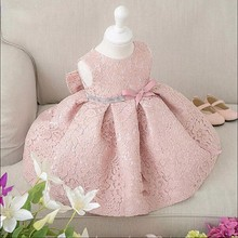 Girls Elegant Dress baby Girls 2017 Summer Fashion Pink Lace Big Bow Party Tulle Flower Princess Wedding Dresses Baby Girl dress