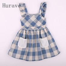 Hurave 2017 Summer Casual Style Girls Dress New Brand Blue Princess Dress Girls Costume Plaid Sleeveless Party Dress Vestido