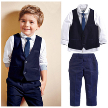 Baby Boys Kids  2017 New arrival formal Gentleman Suit Tops Shirt Waistcoat Tie Pants 4PCS Outfits 1~7Y