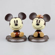Hot Sale Cartoon Mickey Mouse Minnie Mouse Cute 12cm Bobble Head Dolls Anime PVC Action Figure Car Decoration(China)