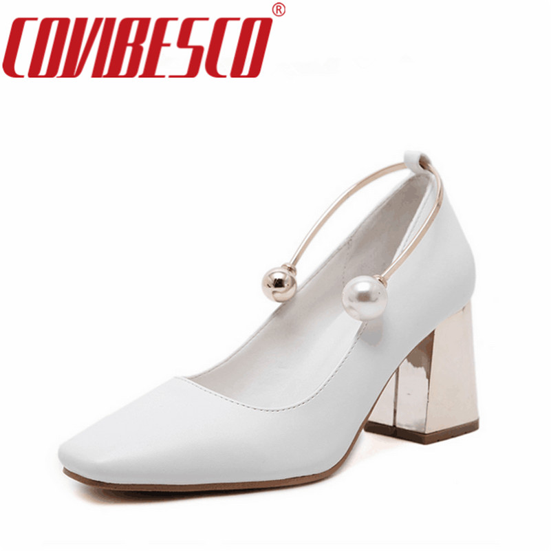 COVIBESCO Women Pumps New Fashion Sexy Elegant Square Toe High Heel Woman Shoes Beading Elegant Wedding Shoes Pump  Plus Size<br>