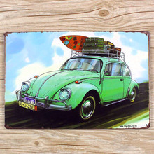 "RO-0503 NEW   "" cool mini lovely car "" metal vintage tin signs painting home decor wall art craft pub bar sticker 20X30cm"