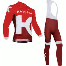 New Design Long Sleev No Fleece/Thermal 2016 Katusha Bike Jersey(Maillot) Clothing Cycle Made From Polyester Italy Ink  Gel Pad