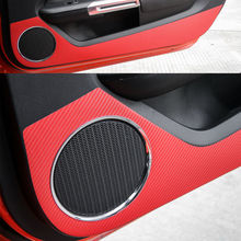 BBQ@FUKA 2x Car Inner Door Side Anti-Kick Carbon Sticker Trim Sticker Red Fit For Ford Mustang 2015 2016 Car-styling Car cover(China)
