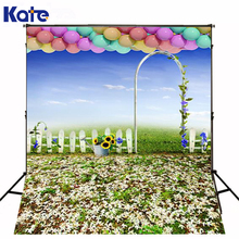 300CM*200CM(about 10ft*6.5ft) backgrounds Pasture fence arches blue sky morning glory sunflower colored balloo  LK 1003