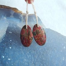 Discount!!Natural Stone Multi-Color Picasso Jasper Oval Cheap Earrings 22x12x3mm 2.4g Fashion jewelry for women accessory
