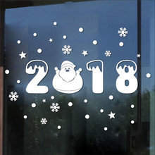 2018 Merry Christmas Shop Window 3D Wall Sticker Snowflake Christmas Tree DIY Christmas Decorations For Home Xmas Wall Stickers(China)