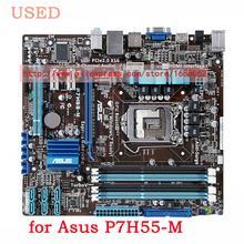Desktop Motherboard for Asus P7H55-M USB2.0 H55 LGA 1156  DDR3  uATX PC Mainboard, tested well!!!