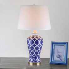 Blue white Vintage chinese porcelain ceramic table lamp bedroom living room wedding table lamp Jingdezhen antique lamp table