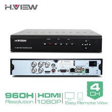 H.View 4 CH CCTV DVR Recorder H.264 Full 960H Security DVR w/ HDMI Video Output Support iPhone Android Phone Remote View No HDD