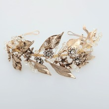 Vintage Gold Wedding Headband Handmade Rhinestone Bridal Headpiece Greek Leaf Crown Women Party Hair Accessories