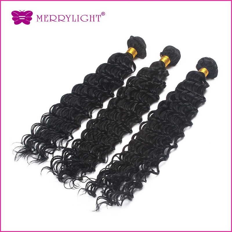 Brazilian hair 7A  1PCS /LOT Grade Unprocessed Natural Color Deep Wave Bundle Free Shipping From Merrylight Hair<br><br>Aliexpress