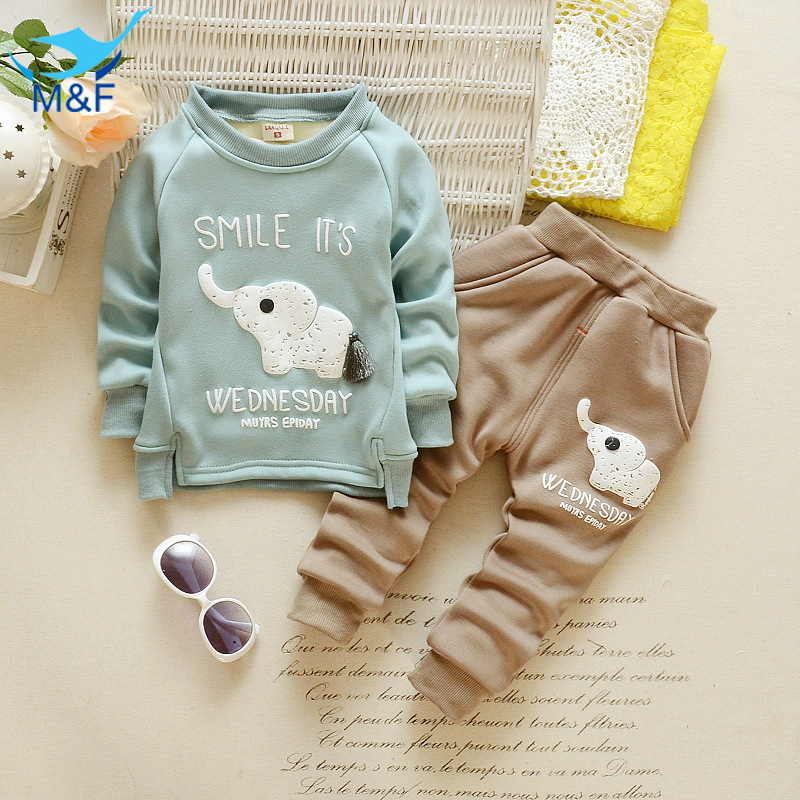 Kids Clothes Set Winter Baby Boys Cartoon Elephant Clothing Set Velvet Warm Long Sleeve T-Shirt+Pants Suit For Infant Boy<br><br>Aliexpress