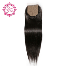 Slove Hair Silk Base Closure Straight Brazilian Remy Human Hair 4x4 Free Part Closure With Natural Baby Hair For Black Women