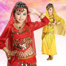 oriental bollywood dance costumes for kids belly dresses professional suit bellydance red sale top and skirt sequin long sleevs