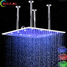 3 Colors Bathroom Shower Head Water Temperature Led Shower Head 20 Inch Ceiling Mounted Square Rain Shower Head Top Over Sprayer(China)