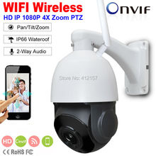 "Outdoor Security FULL HD 1080P Wireless IP Camera 2-Way Audio 2MP 4"" MINI WIFI Speed PTZ Camera 4X ZOOM P2P Mobile View SD Card(China)"
