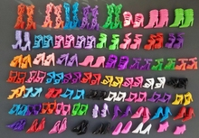 60 Pairs/set Fashion Heels Sandals Doll Shoes For Barbie Dolls Outfit Dress Lots of Designs Xmas Gift For Girl Toy(China)