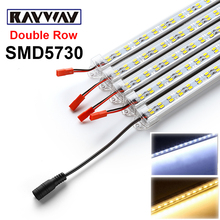 RAYWAY 5pcs*50cm DC12V 72leds Double Row 5630/5730 SMD Rigid Strip LED Bar Light + Aluminium Profile + pc cover + DC Connector(China)