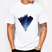 Fashion Iceberg Print t shirt Men Mountain Design t-shirt Casual Cool Mens top tee Short Sleeve Trend Clothing