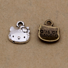 13*11MM Zinc alloy plating bronze metal pendant retro silver hello kitty charms, cartoon KT cat mobile jewelry wholesale ZAKKA