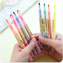 8 pcs/Lot Double side fluorescent pen Highlighter Point marker for bookmark Stationery Office accessories Writing supplies