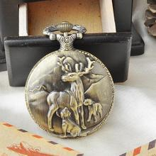 New Fashion Antique Bronze Steampunk Pocket Watch Animal Milu Deer Quartz Mechanical Watch Pendant Necklace Chain 80cm